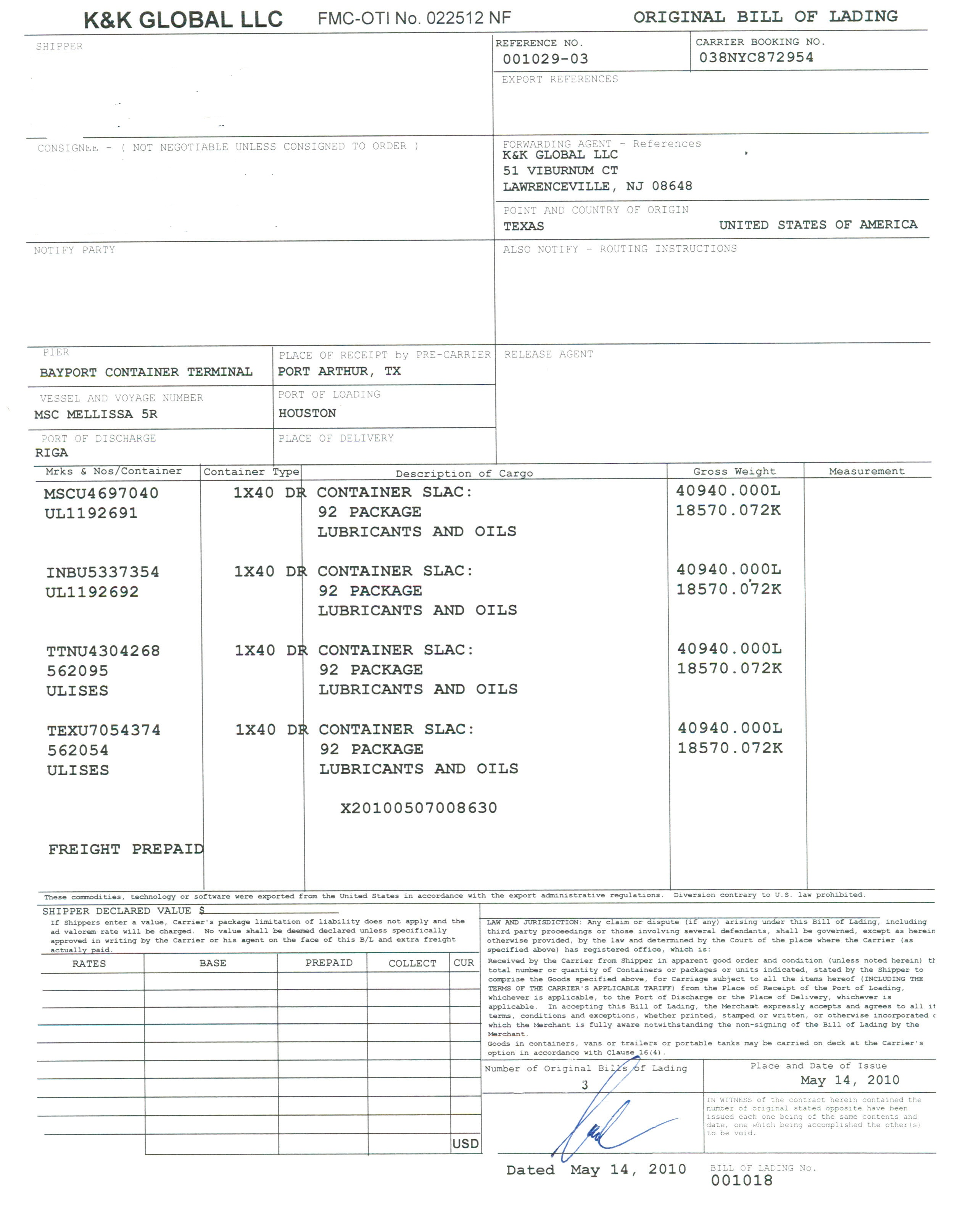 Bill of Lading – Sample of Bill of Lading Document